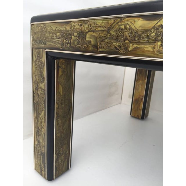 1970s Mid-Century Modern Bernhard Rohne for Mastercraft Acid Etched Brass Coffee Table For Sale In Los Angeles - Image 6 of 8