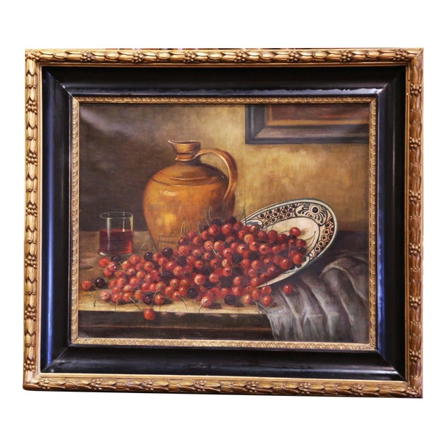 19th Century French Signed Oil on Canvas Painting in Carved Gilt Frame For Sale