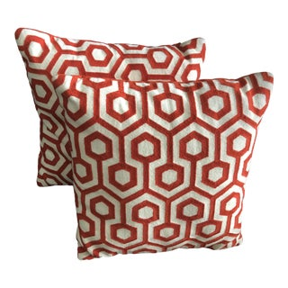 "18"" Mid-Century Terra Cotta Geometric Pillows - a Pair"