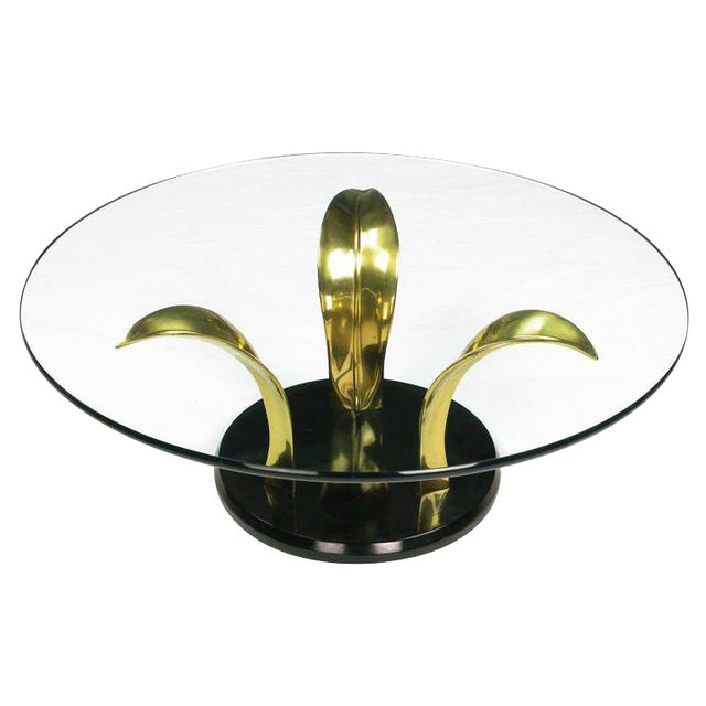 Black Lacquer & Brass Palm Leaf Cocktail Table For Sale