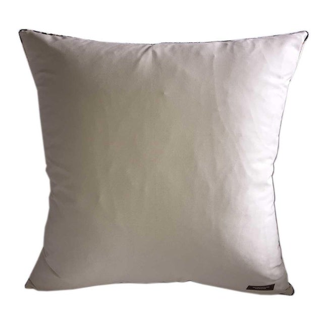 Custom Designed Silk Velvet Ikat Pillow from our studio with a solid 100% Cotton Tan reverse. Colors are Graphite and...