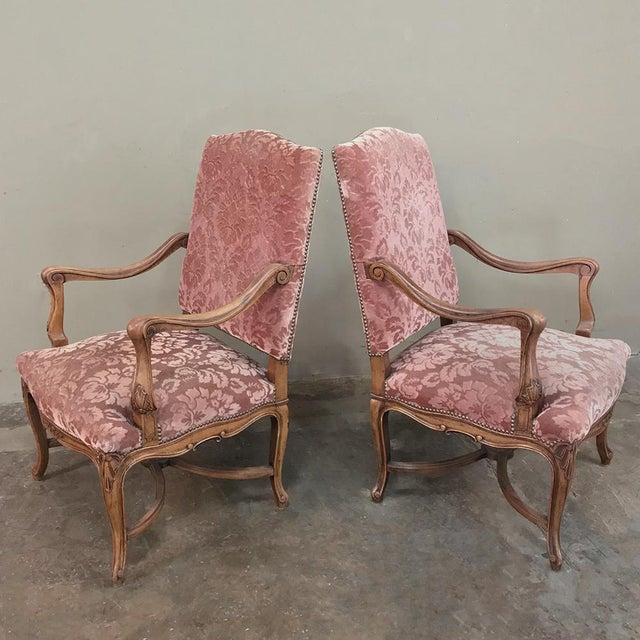 Pair Armchairs, 19th Century French Louis XV in Walnut For Sale In Dallas - Image 6 of 13