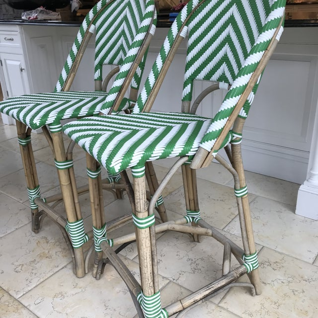 Boho Chic Green & White Stripe Rattan Bamboo Bar Stools - a Pair For Sale - Image 3 of 9