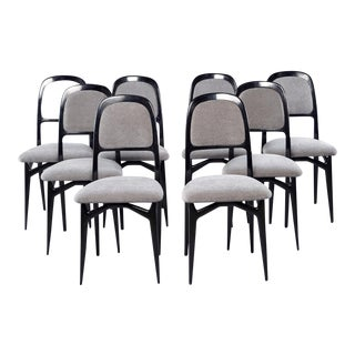 Set of 8 Italian Modernist Black Frame Dining Chairs For Sale