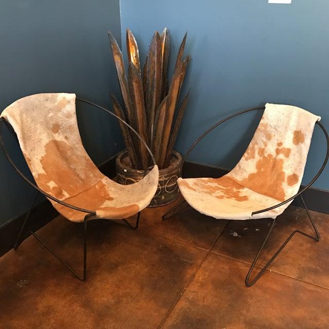 Mid-Century Cowhide Sling Hoop Chairs - Image 3 of 10