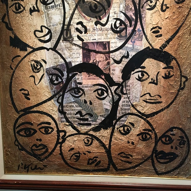 """1970s Peter Keil Canvas Painting, """"Shakespeare Faces"""" For Sale - Image 5 of 13"""