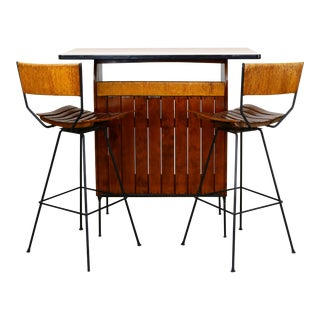 1950s Arthur Umanoff Dry Bar and 2 Stools For Sale