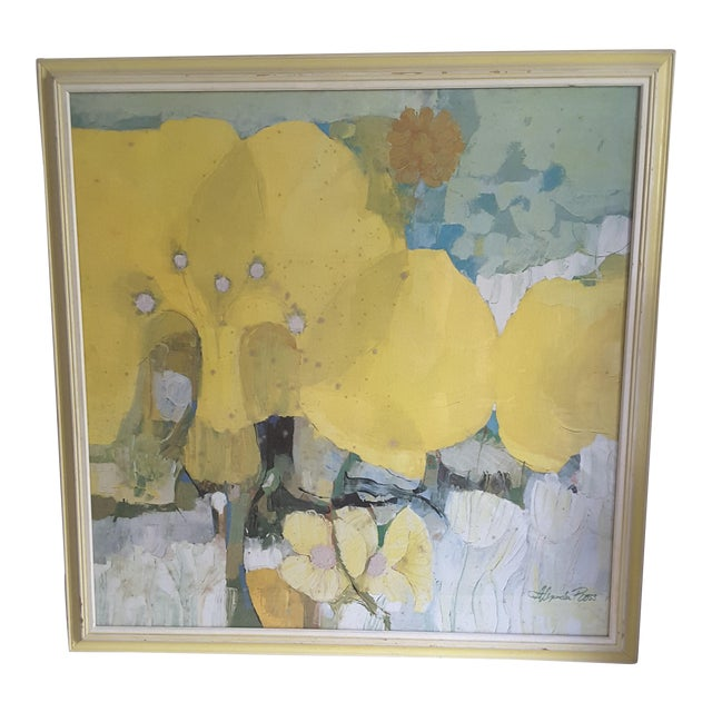 Vintage Mid-Century Artwork Framed Print of Watercolor Painting Signed Alexander Ross For Sale
