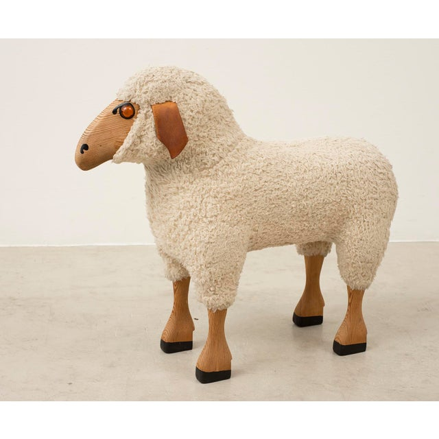 Life-Sized Sheep in Sheepskin and Beech, Germany, 1970s For Sale - Image 4 of 13