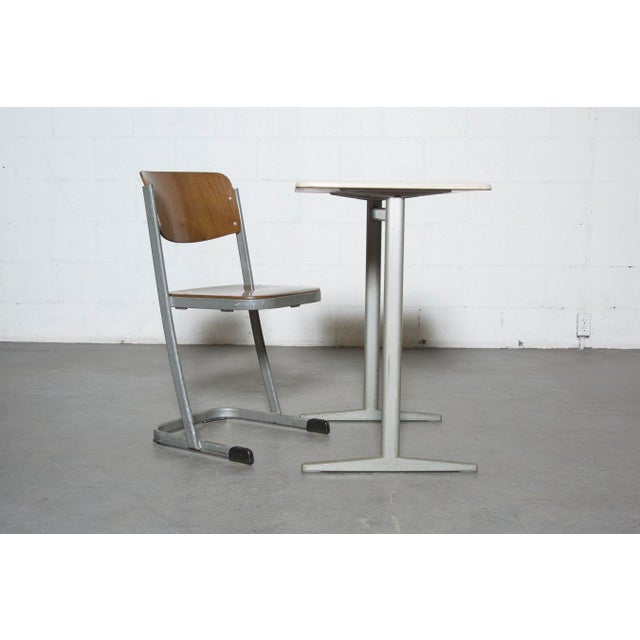 Retro Industrial School Desk and Chair Set - Image 2 of 11