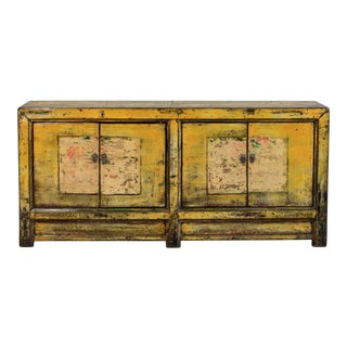 Antique Chinese Yellow Lacquered Sideboard/Cabinet For Sale