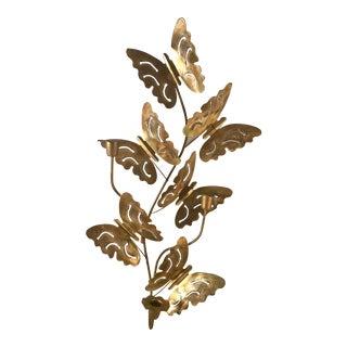 Mid-Century Metal Butterflies Wall Sconce