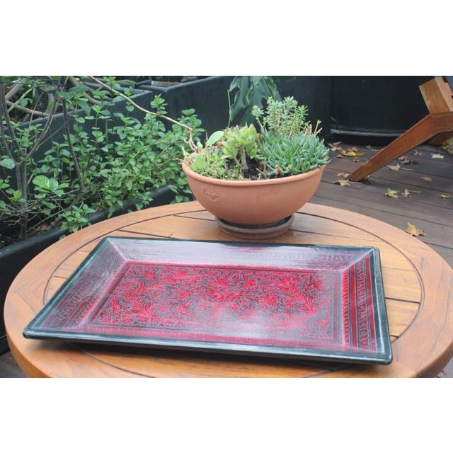 Red & Black Hand-Carved Wooden Tray For Sale - Image 4 of 5