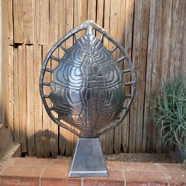 1970s Mid-Century Modern Arthur Court Aluminum Tortoise Table Lamp For Sale - Image 12 of 13