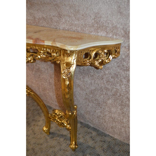 Carved French Style Marble Top Console Table - Image 8 of 11