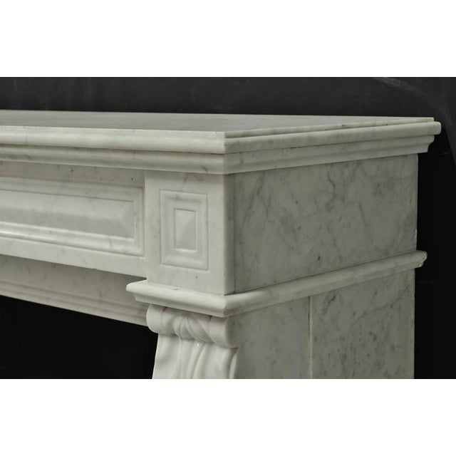 White Small White Marble Louis XVI Fireplace, 19th Century For Sale - Image 8 of 9