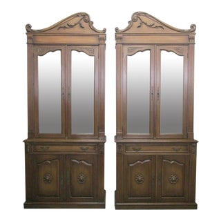 Pair of Monumental Hollywood Regency Cabinets For Sale