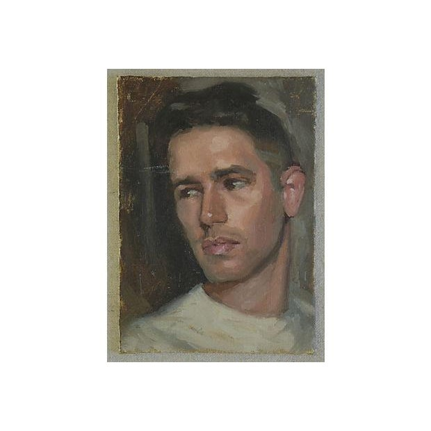 Pair Vintage Attractive Male Portrait Oil Painting Study - Set of 2 For Sale - Image 4 of 8