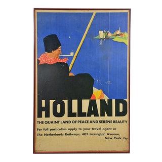 Vintage Original Dutch Travel Offset Poster in Wooden Frame For Sale