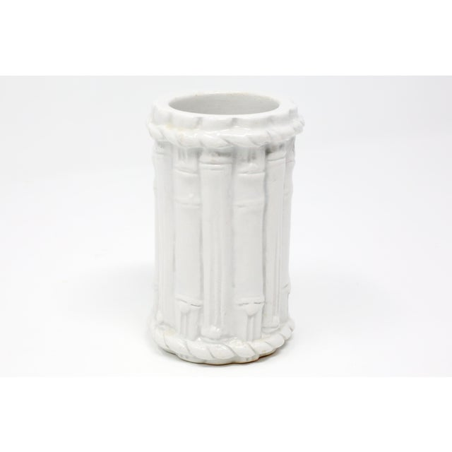 Vintage Ceramic Bamboo Motif Vase Made in Italy For Sale - Image 9 of 9