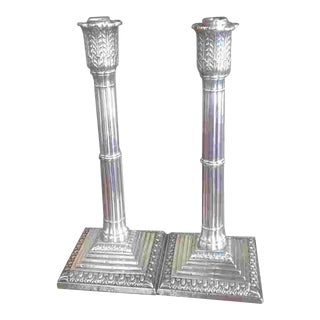 19th C. British Sterling Candlesticks For Sale