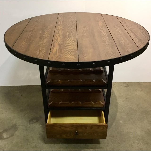 Stylish Organic Modern counter height wine dining table, wood and metal, one drawer, wine bottle storage, on wheels,...
