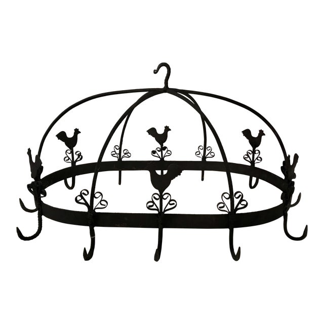 20th Century French Country Black Iron Pot Rack For Sale