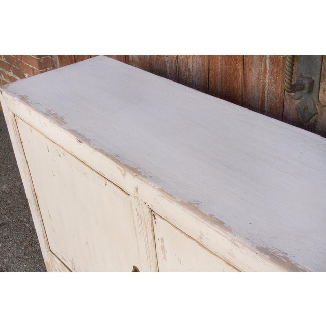 Antique White Farmhouse Rustic Asian Cabinet For Sale - Image 9 of 11
