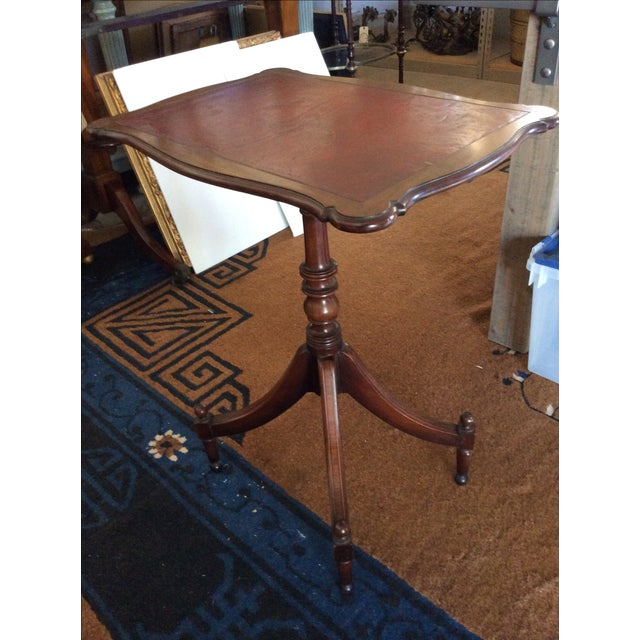 Antique English Leather Tilt Top Side Table - Image 2 of 6