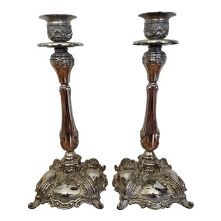 Traditional Silverplate Candle Holders - A Pair