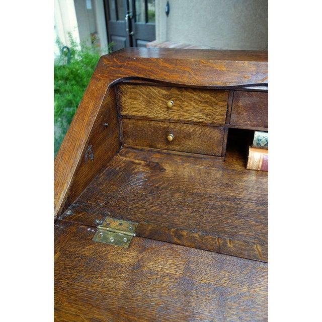 Antique French Carved Oak Secretary Desk For Sale - Image 10 of 11