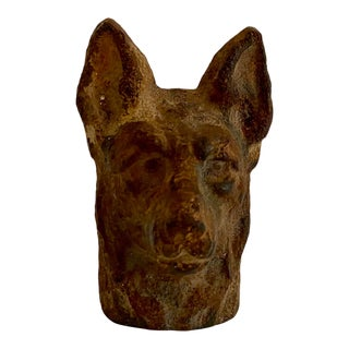 Antique Hubley Cast Iron German Shepard Paper Weight For Sale