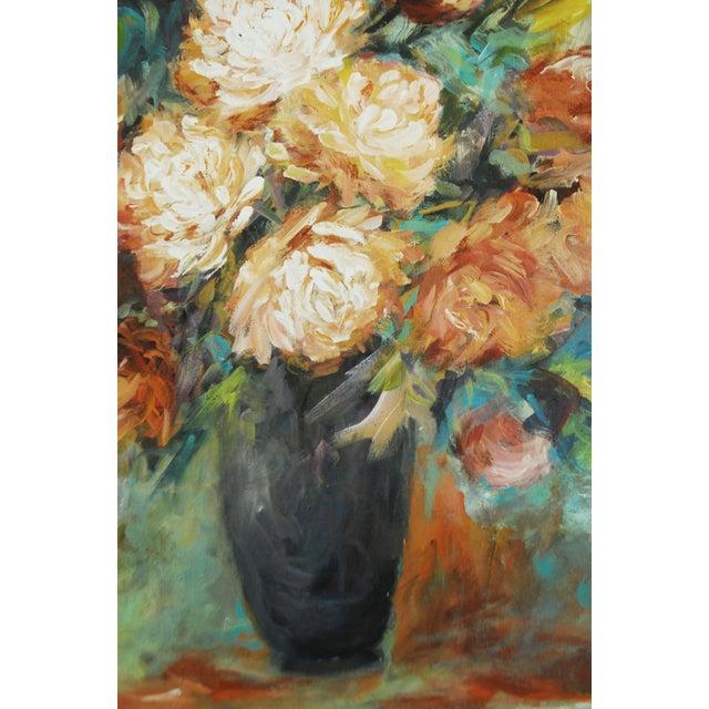 Vintage Impressionist Chrysanthemums Painting - Image 4 of 6