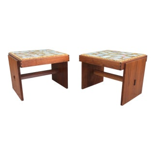 Brown Saltman Marble and Stone Pair of Side Tables For Sale