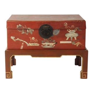 Hand-Painted Chinese Trunk on Stand For Sale