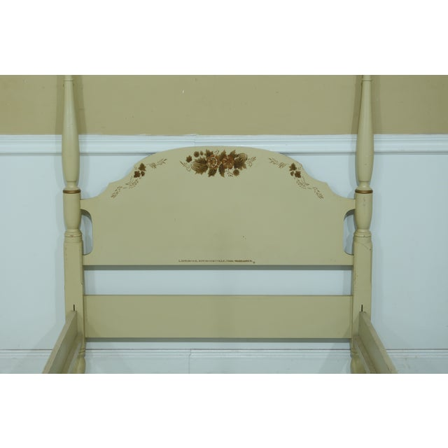 Item: F32139EC: HITCHCOCK Full Size Creme Paint Decorated Poster Bed Age: Approx: 40 years old Details: Quality...