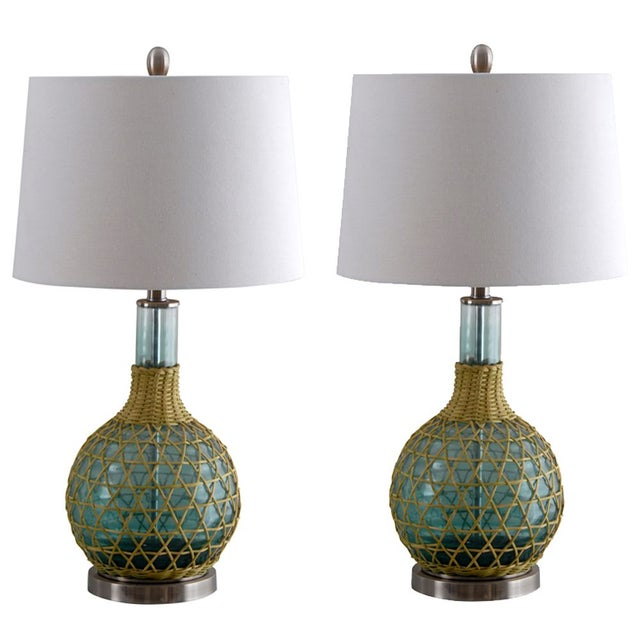 Green Glass Table Lamp with Ivory Shade - A Pair For Sale
