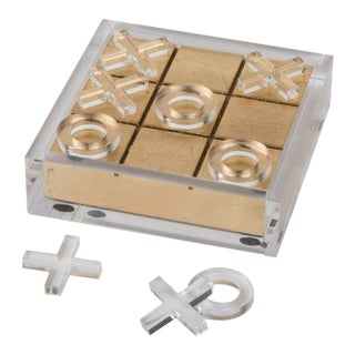 Hollywood Regency Brass and Acrylic Tic Tac Toe Game For Sale