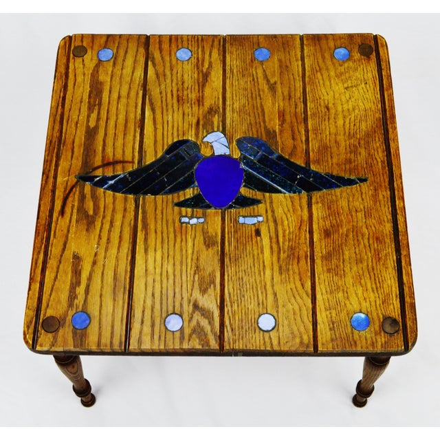 Mosaic Eagle Inlay Wood Accent Table - Image 5 of 9