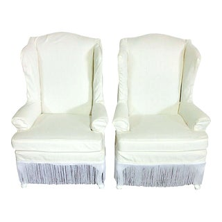20th Century American Queen Anne Style Wing Back Chairs- A Pair For Sale