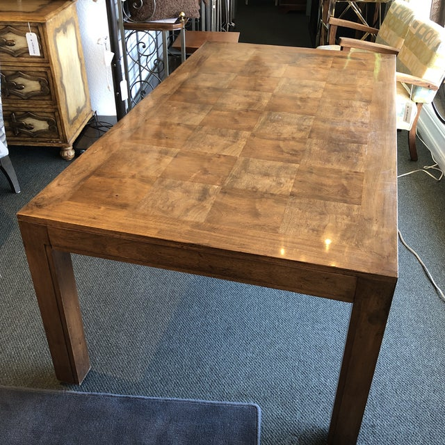 Traditional Custom Parquet Extension Dining Table For Sale - Image 3 of 13