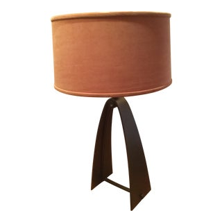 Hubbardton Forge Handcrafted Wrought Iron Lamp, With Shade & Diffuser For Sale