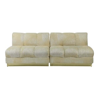 Mid-Century Modern Brass Base Cream Sofa
