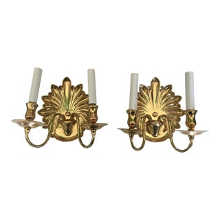 Brass Shell Form Wall Sconces A Pair 2 light For Sale