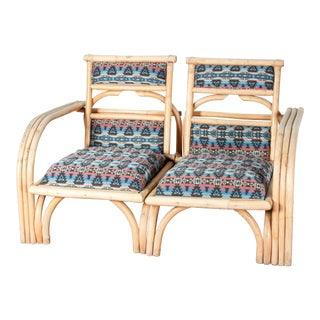 Rattan Patio Lounge Chairs - A Pair For Sale