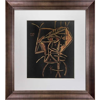"1959 Pablo Picasso ""Tete De Femme"" Linocut Limited Edition Print For Sale"