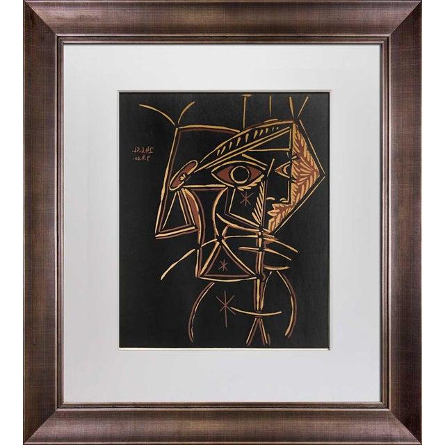 """1959 Pablo Picasso """"Tete De Femme"""" Linocut Limited Edition Print For Sale"""