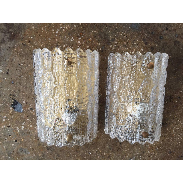 """Pair of vintage, large sconces designed by Carl Fagerlund for Orrefors, Sweden, circa 1960s. Measures: H 10"""" W 7"""", D 4""""...."""