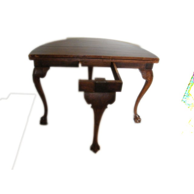 English Walnut Demi-Lune Table For Sale - Image 4 of 6