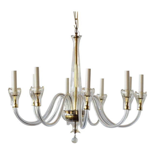Mid 20th Century Czech Chandelier With Tulip Cups For Sale